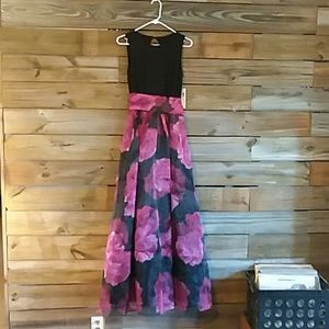 Stunning floor length red, pink and black dress